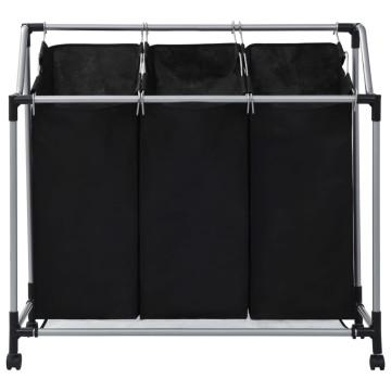 Fekete acél szennyesszortírozó 3 zsákkal - utánvéttel vagy ingyenes szállítással