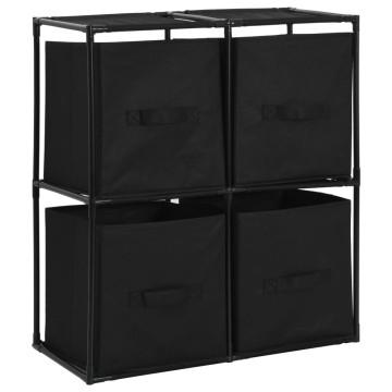 Acél tárolószekrény 4 db fekete szövetkosárral 63 x 30 x 71 cm - utánvéttel vagy ingyenes szállítással