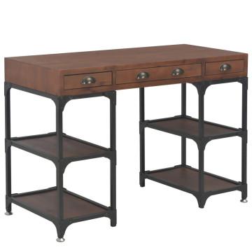 Háromfiókos tömör fenyőfa íróasztal 110x50x78 cm - ingyenes szállítás