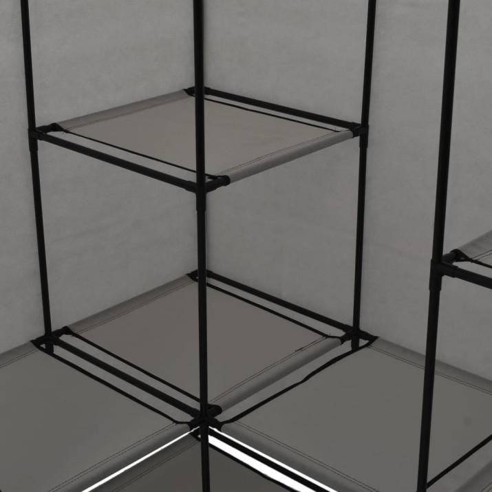 Szürke sarokruhásszekrény 130 x 87 x 169 cm - ingyenes szállítás