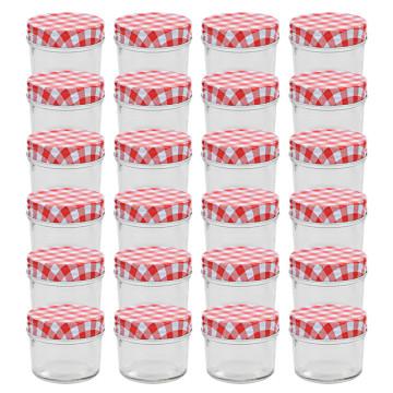 24 db 110 ml-es befőttesüveg piros-fehér tetővel - utánvéttel vagy ingyenes szállítással