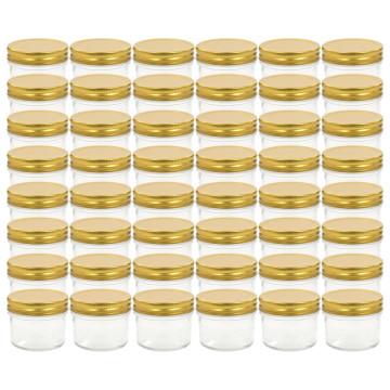 48 db 110 ml-es befőttesüveg aranyszínű tetővel - utánvéttel vagy ingyenes szállítással