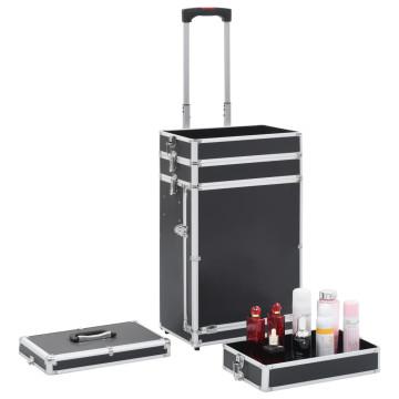Fekete alumínium sminkbőrönd - utánvéttel vagy ingyenes szállítással