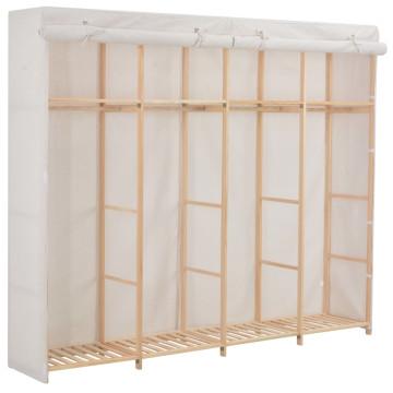 Fehér szövet ruhásszekrény 200 x 40 x 170 cm - utánvéttel vagy ingyenes szállítással