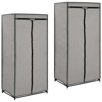 2 db szürke ruhásszekrény 75 x 50 x 160 cm - utánvéttel vagy ingyenes szállítással