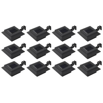 12 db fekete négyzet alakú kültéri napelemes LED lámpa 12 cm - utánvéttel vagy ingyenes szállítással