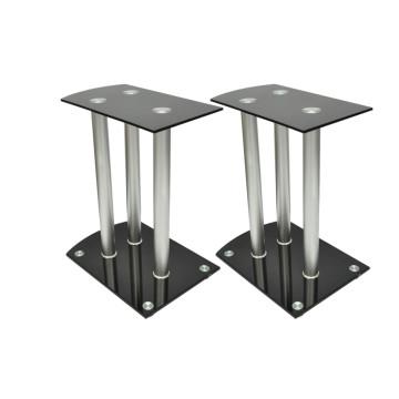 Alumínium Hangfal állványok Fekete üveg 2db - utánvéttel vagy ingyenes szállítással