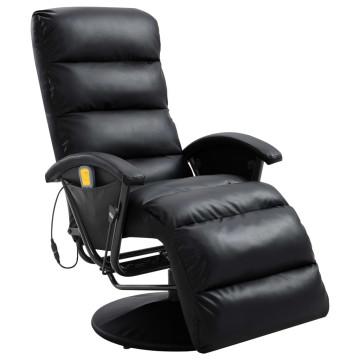 Fekete dönthető, masszírozó műbőr TV-fotel - ingyenes szállítás