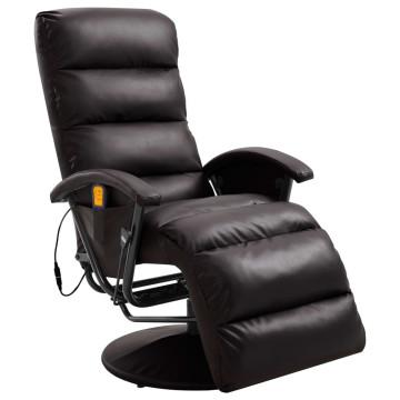 Barna dönthető, masszírozó műbőr TV-fotel - ingyen...