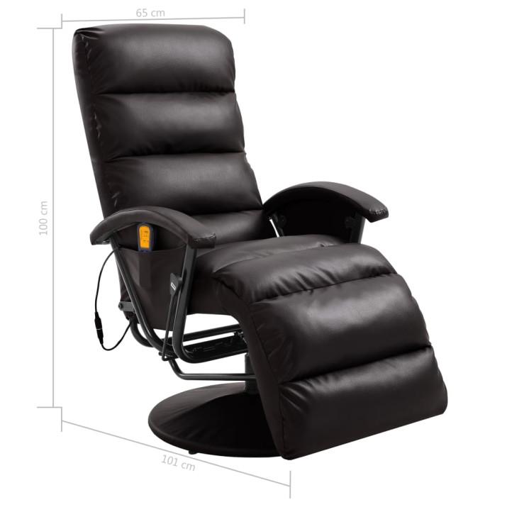 Barna dönthető, masszírozó műbőr TV-fotel - ingyenes szállítás