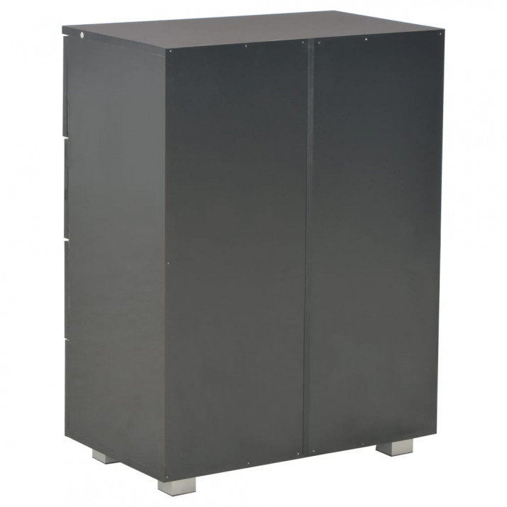 Fekete magasfényű forgácslap tálalószekrény 60 x 35 x 76 cm - utánvéttel vagy ingyenes szállítással