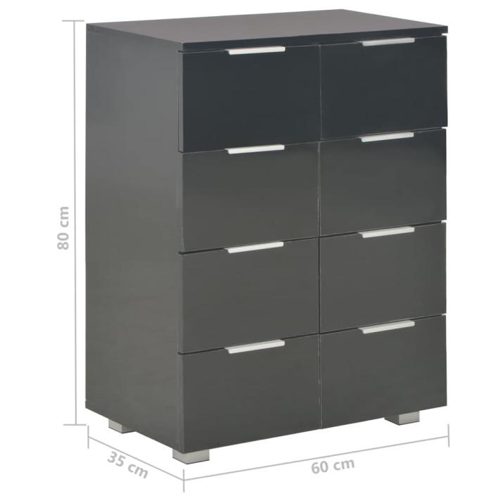 Fekete magasfényű forgácslap tálalószekrény 60 x 35 x 76 cm - ingyenes szállítás