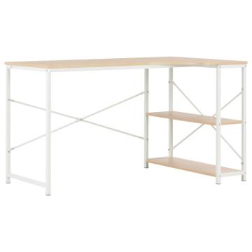 Fehér és tölgyszínű számítógépasztal 120 x 72 x 70 cm - utánvéttel vagy ingyenes szállítással
