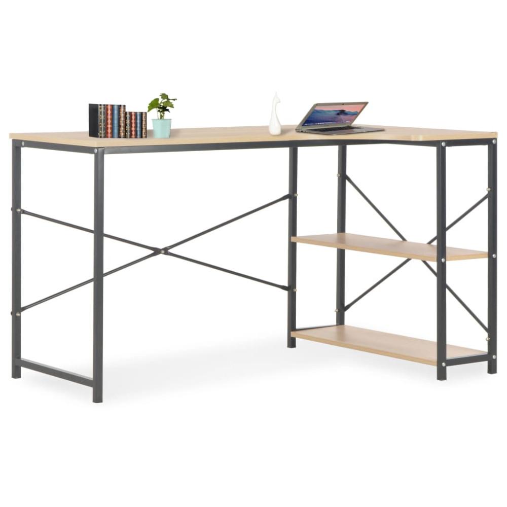 Fekete és tölgyszínű számítógépasztal 120 x 72 x 70 cm - utánvéttel vagy ingyenes szállítással