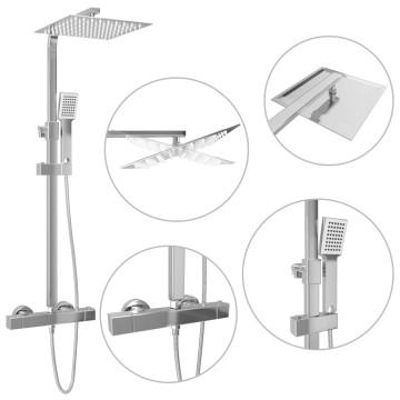 Rozsdamentes acél dupla fejű zuhanyszett termosztáttal - ingyenes szállítás