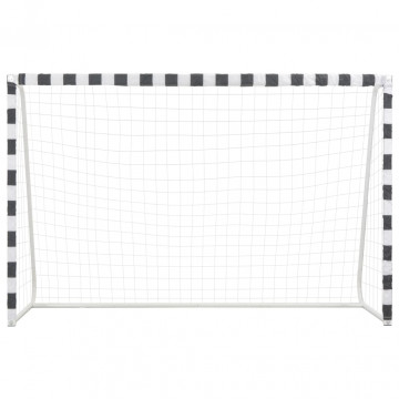 Fekete-fehér fém focikapu 300 x 200 x 90 cm - utánvéttel vagy ingyenes szállítással