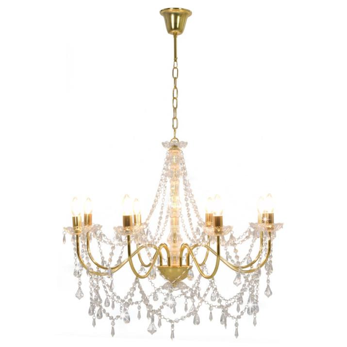 Aranyszínű csillár gyöngyökkel és 8 db E14 izzófoglalattal - utánvéttel vagy ingyenes szállítással