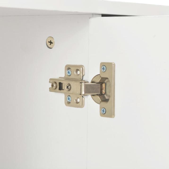 Magasfényű fehér forgácslap tálalószekrény 71 x 35 x 76 cm - ingyenes szállítás