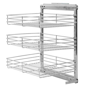 Ezüstszínű háromszintes kihúzható konyhai drótkosár 47x35x56 cm - utánvéttel vagy ingyenes szállítással