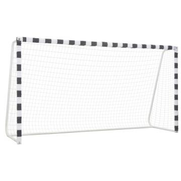 Fekete-fehér fém focikapu 300 x 160 x 90 cm - utánvéttel vagy ingyenes szállítással