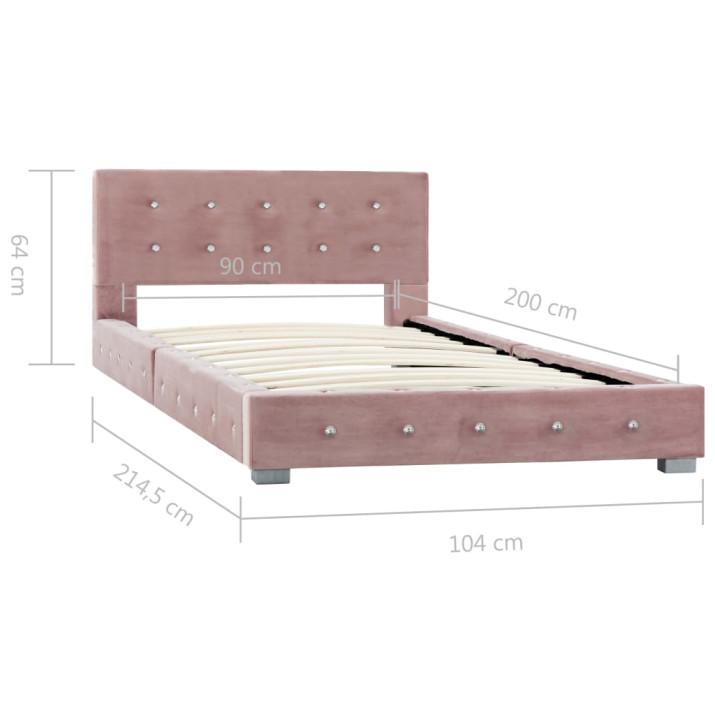 Rózsaszín bársony ágykeret 90 x 200 cm - utánvéttel vagy ingyenes szállítással