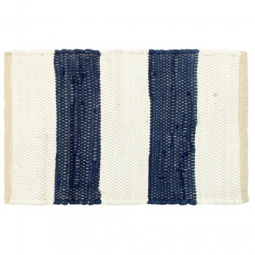 4 db fehér-kék csíkos pamut chindi tányéralátét 30 x 45 cm - utánvéttel vagy ingyenes szállítással