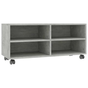 Betonszürke forgácslap TV-szekrény görgőkkel 90 x 35 x 35 cm - utánvéttel vagy ingyenes szállítással