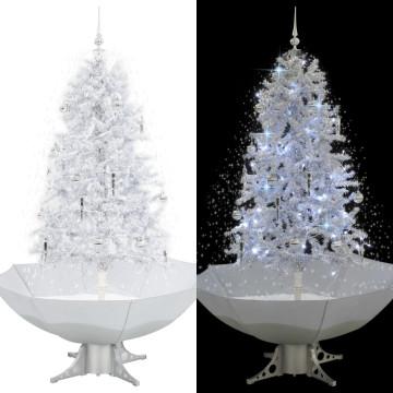 Fehér havazó karácsonyfa ernyő alakú talppal 170 cm - ingyenes szállítás