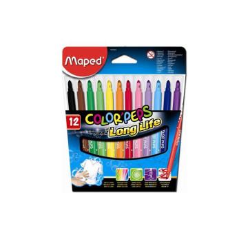 """Filctoll készlet, 1-5 mm, kimosható, MAPED """"Color`Peps"""", 12 különböző szín"""