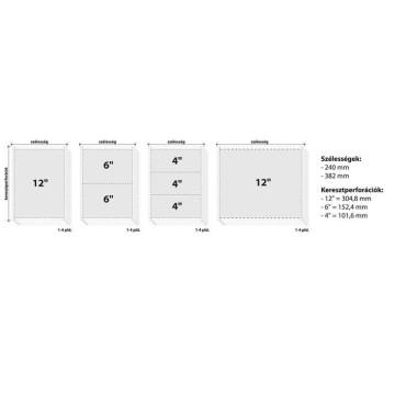 """Leporelló, 240 mm, 12"""", 4 példány, oldalszámozott"""
