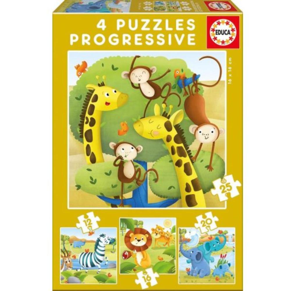 EDUCA puzzle 4 az 1-ben - Vadállatok