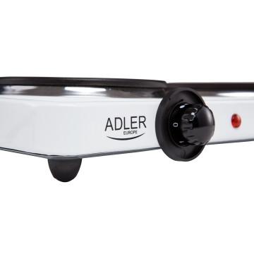 Adler AD6504 2 személyes főzőlap, 185mm-es és 155mm-es főző felület, 2500W, Fehér