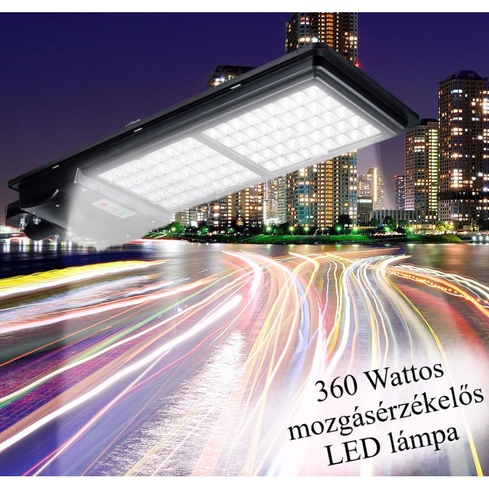 Új Generációs, Intelligens 360 Wattos Utcai Solar LED Lámpa Távirányítóval