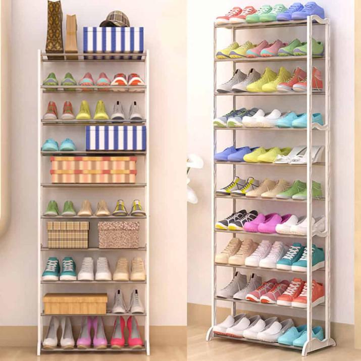 10 soros cipőtároló - fehér