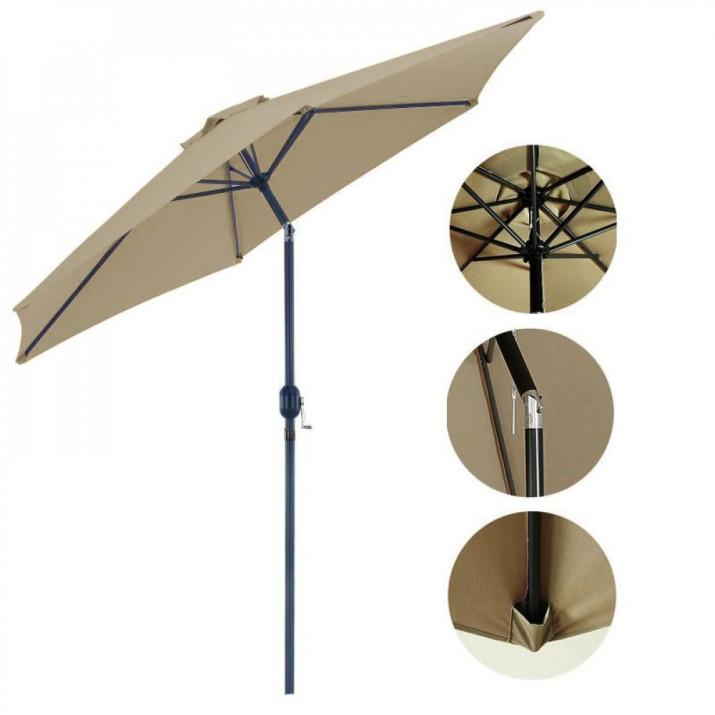 Extra nagyméretű stram dönthető napernyő - 2,25 m magas, 2,7 m átmérő, khaki színű