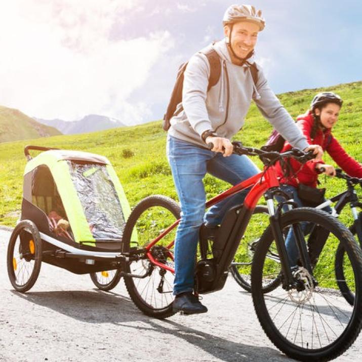Kerékpár utánfutó gyerekeknek, 30 kg-os teherbírás - Ingyenes szállítás