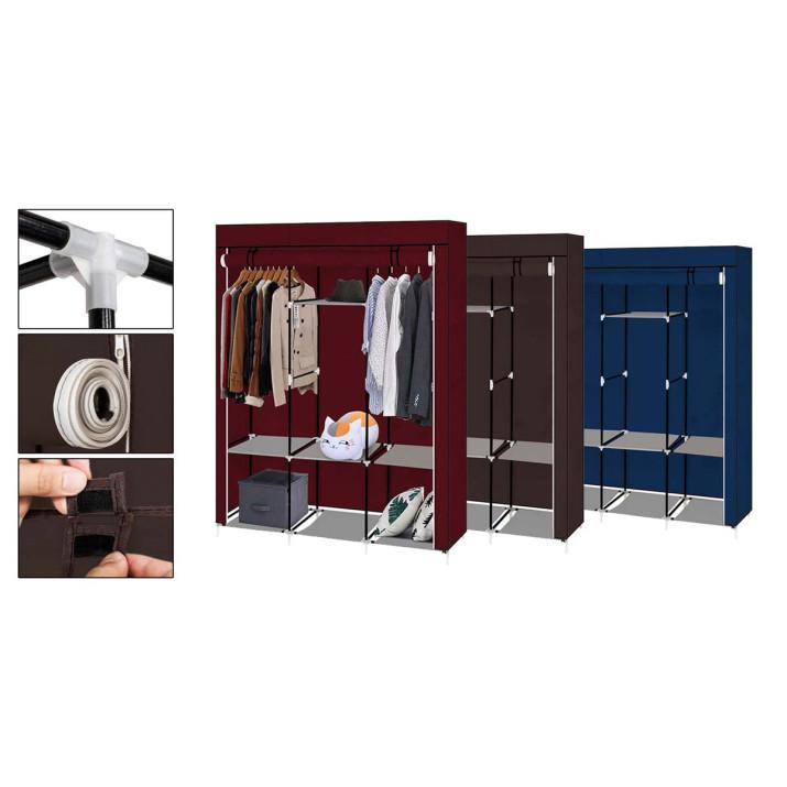 Praktikus ruhásszekrény - mobil gardrób 130x45x170 cm-es méretben, barna