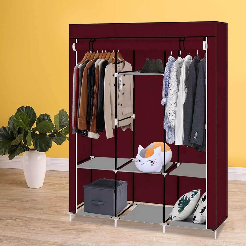 Praktikus ruhásszekrény - mobil gardrób 130x45x170 cm-es méretben, bordó