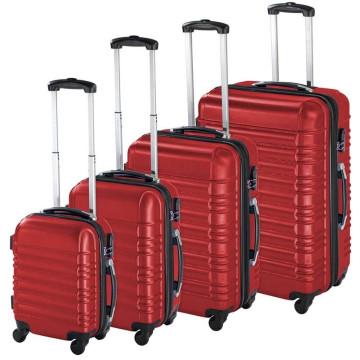 4 db-os merev falú bőrönd szett, Piros színben - I...