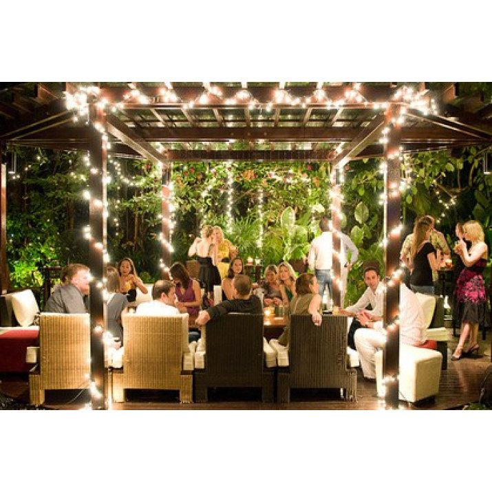 Hangulatos napelemes kerti fényfüzér 100 LED-es, melegfehér, 10m