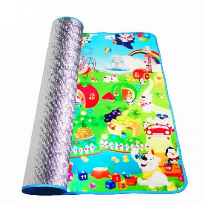 Játszószőnyeg gyerekeknek, kül- és beltérre, színes mintákkal és figurákkal, polifoam vízlepergető bevonattal, 148,5x180 cm
